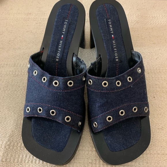 SOLD Vintage 90s Tommy Hilfiger Chunky Denim Heels
